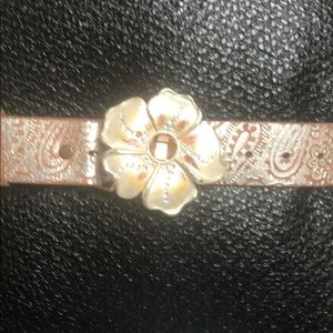 EUC Silver and Tan Belt/Flower Buckle